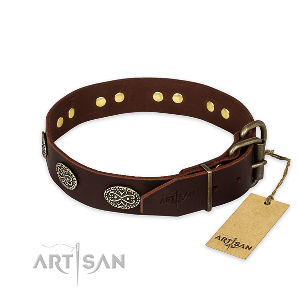 Corrosion resistant fittings on natural genuine leather collar for your handsome dog