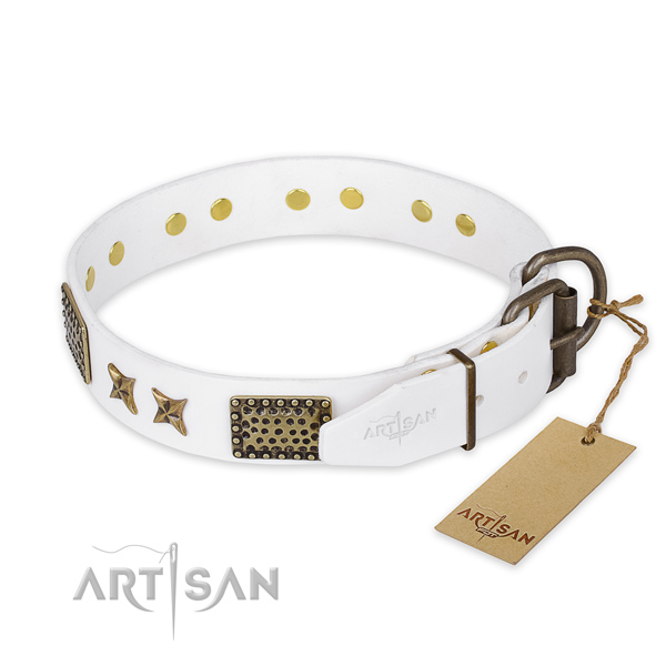 Reliable hardware on genuine leather collar for your lovely canine