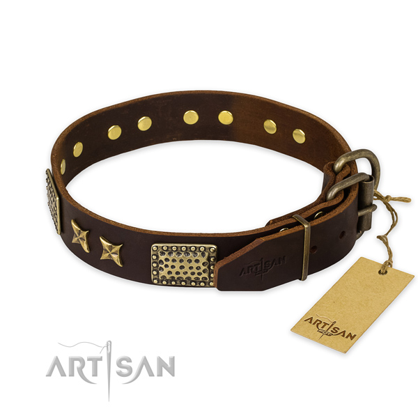 Corrosion proof fittings on natural genuine leather collar for your impressive pet