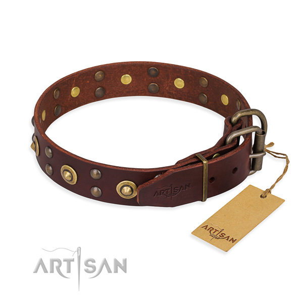 Strong traditional buckle on full grain leather collar for your lovely four-legged friend