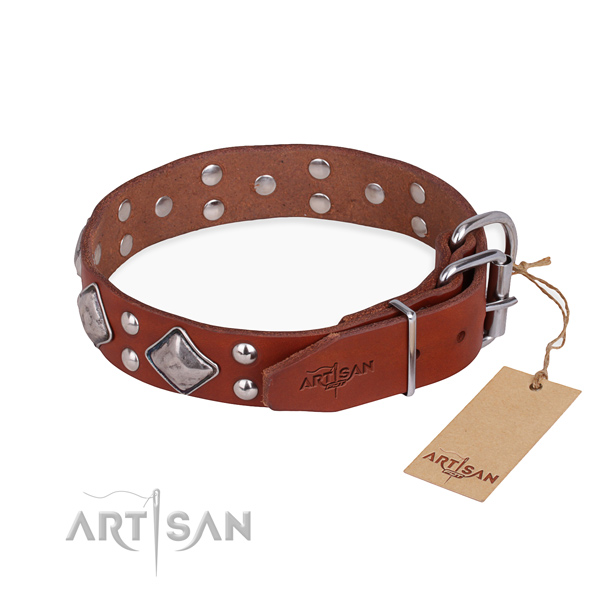 Genuine leather dog collar with designer corrosion proof decorations