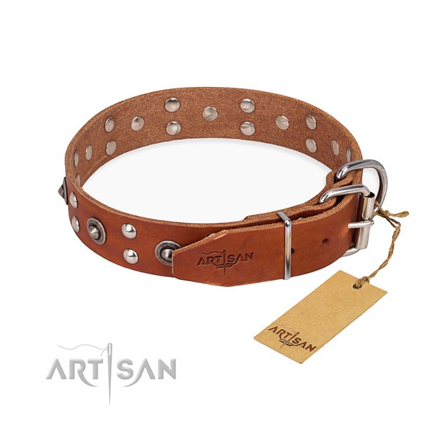 Durable traditional buckle on genuine leather collar for your handsome pet