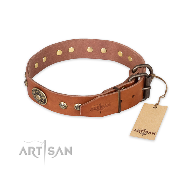 Durable fittings on full grain genuine leather collar for daily walking your four-legged friend
