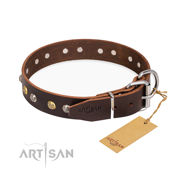Top notch leather dog collar handmade for walking
