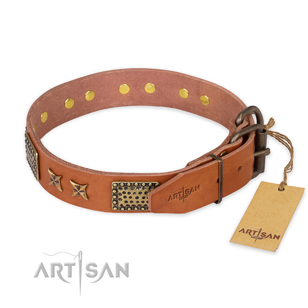 Rust resistant buckle on genuine leather collar for your lovely four-legged friend