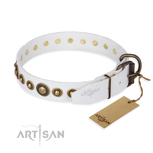 High quality genuine leather dog collar crafted for fancy walking