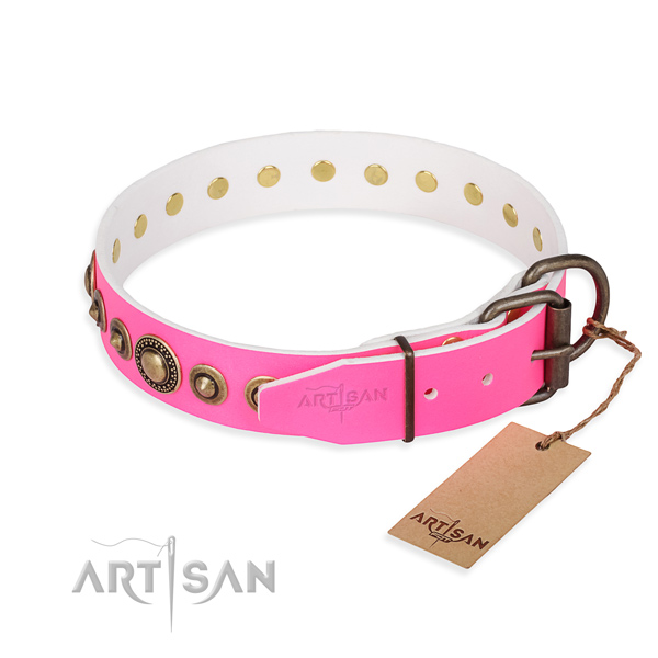 Strong leather dog collar created for comfortable wearing