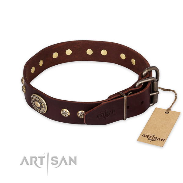Durable traditional buckle on genuine leather collar for daily walking your doggie