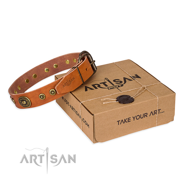 Genuine leather dog collar made of soft to touch material with corrosion resistant fittings