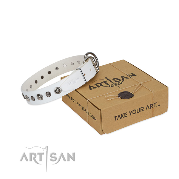 Top quality natural leather dog collar with designer adornments