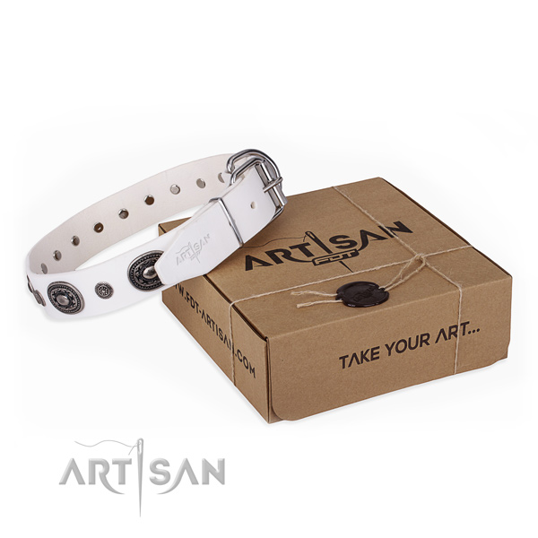 Soft to touch natural genuine leather dog collar made for handy use