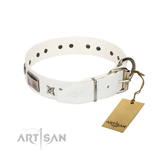 Easy adjustable collar of leather for your handsome pet