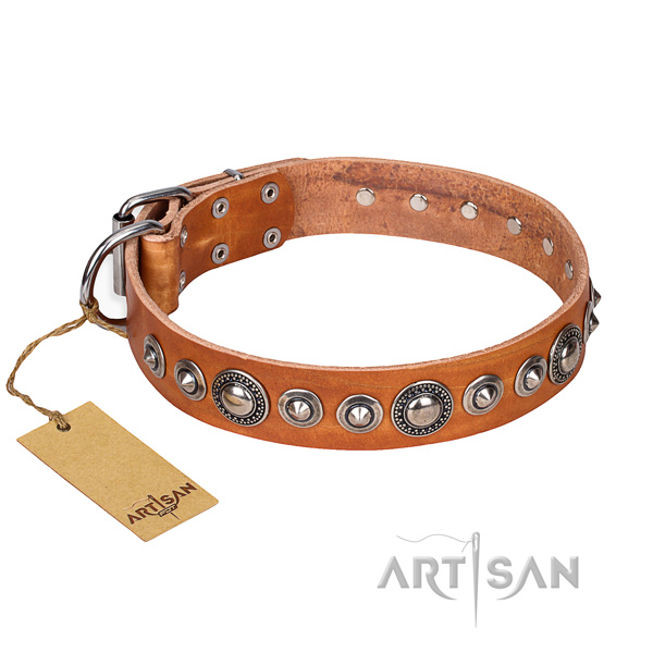 Full grain genuine leather dog collar made of best quality material with reliable fittings