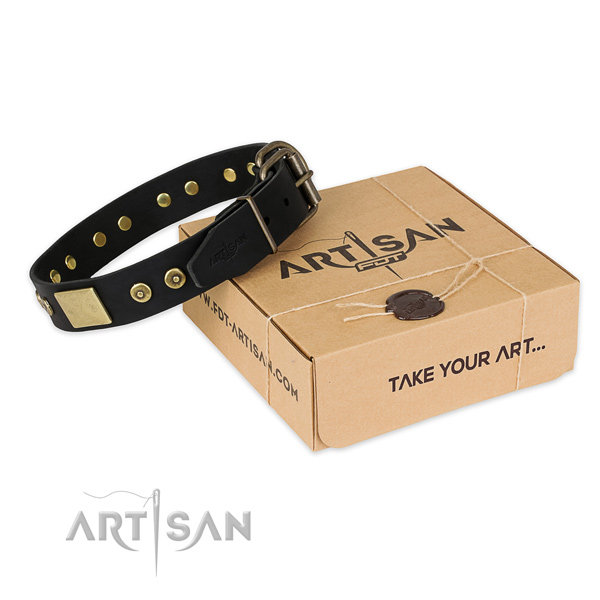 Strong hardware on leather dog collar for easy wearing
