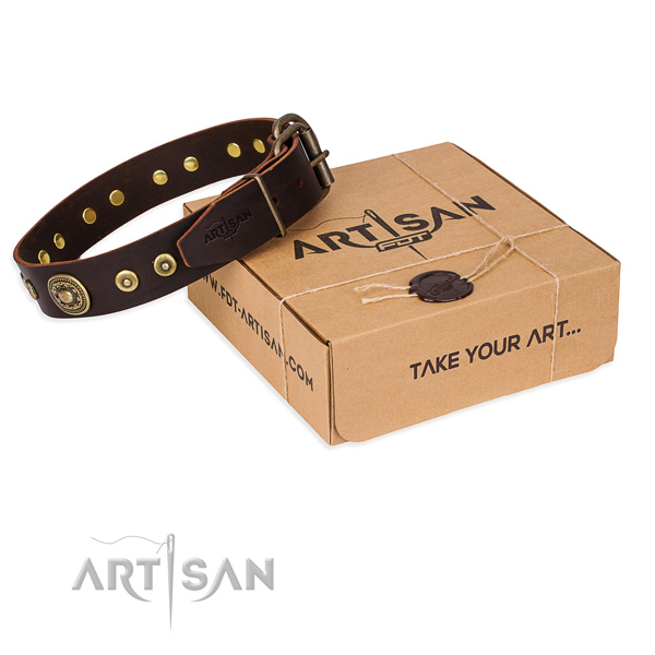 Natural genuine leather dog collar made of quality material with rust resistant buckle