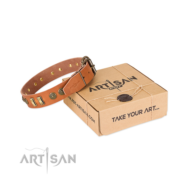 Rust resistant D-ring on full grain natural leather dog collar for your dog