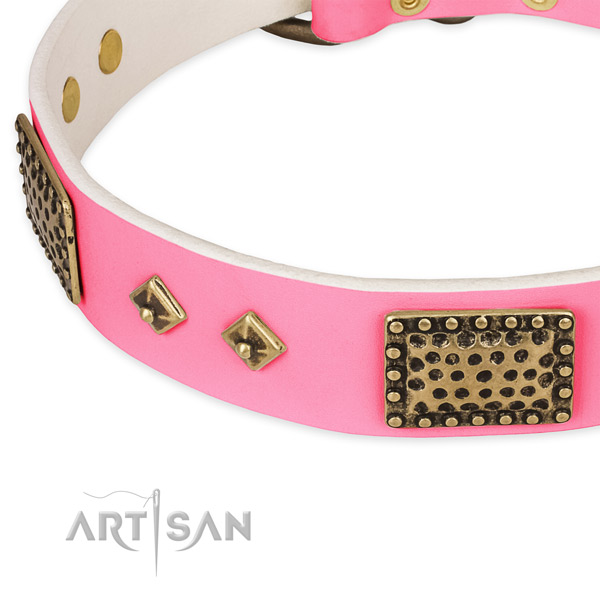 Full grain genuine leather dog collar with adornments for walking