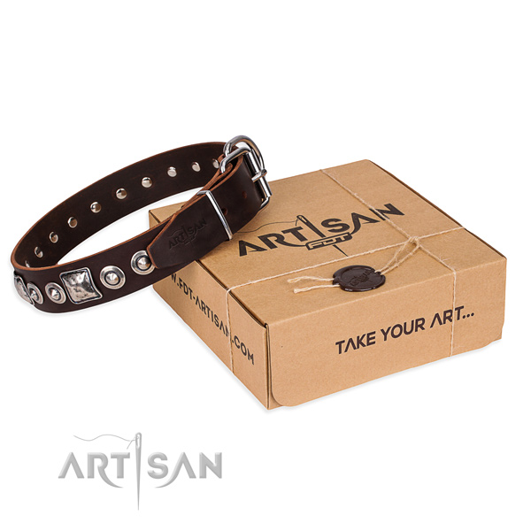 Leather dog collar made of soft to touch material with rust resistant hardware