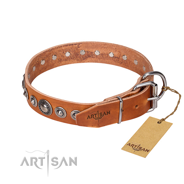 Genuine leather dog collar made of top notch material with corrosion proof embellishments