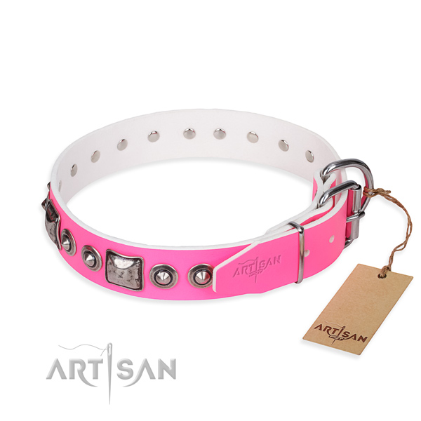 Top notch genuine leather dog collar crafted for walking