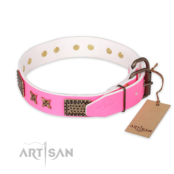 Rust resistant buckle on natural genuine leather collar for your beautiful pet