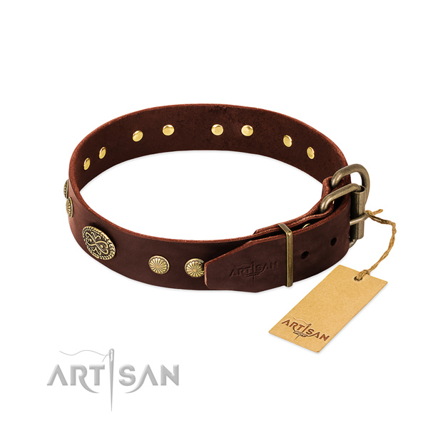 Durable traditional buckle on genuine leather dog collar for your canine