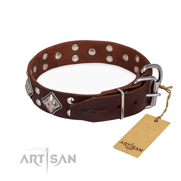 Full grain natural leather dog collar with designer reliable embellishments