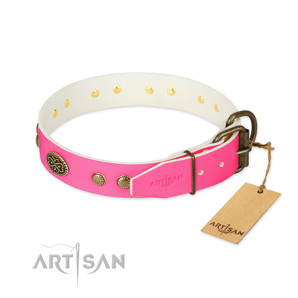 Rust resistant traditional buckle on natural leather dog collar for your canine