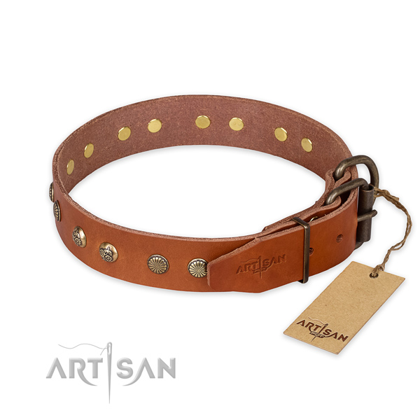 Strong D-ring on full grain genuine leather collar for your attractive pet