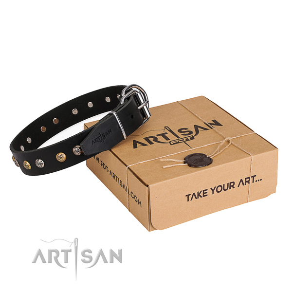 Gentle to touch full grain genuine leather dog collar handcrafted for everyday use