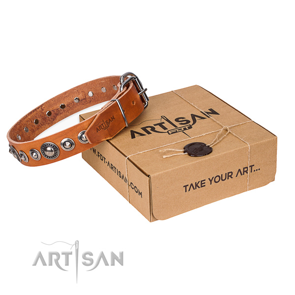 Genuine leather dog collar made of top notch material with durable buckle