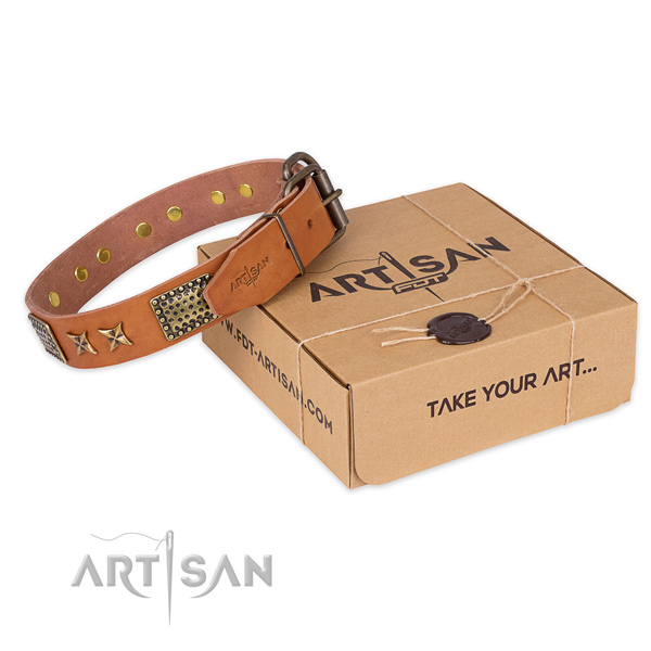 Rust-proof D-ring on full grain genuine leather collar for your beautiful doggie