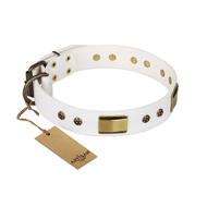 """Precious Necklace"" FDT Artisan White Leather Belgian Malinois Collar with Old Bronze Look Plates and Studs"