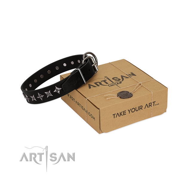 Daily use dog collar of durable natural leather with decorations
