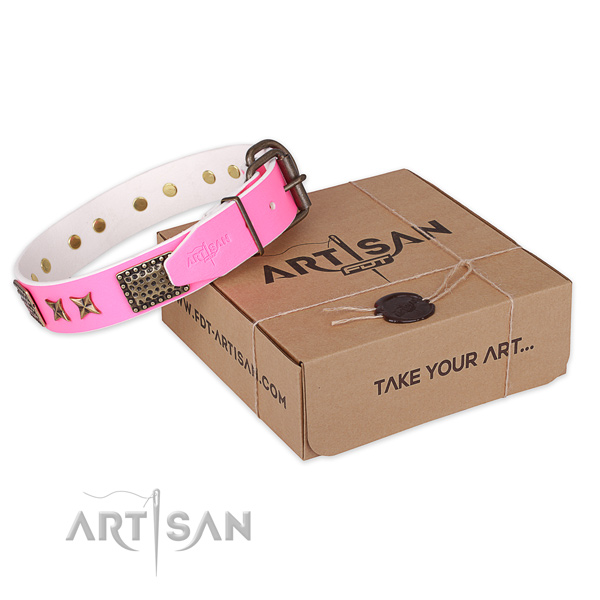 Reliable hardware on full grain leather collar for your beautiful doggie