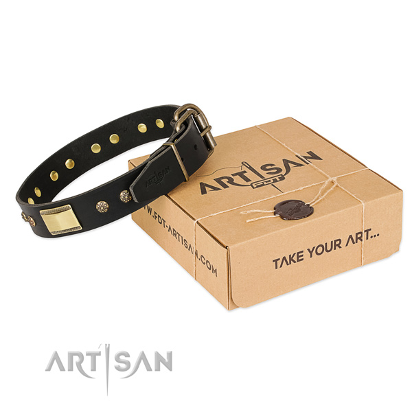Handcrafted leather collar for your lovely pet