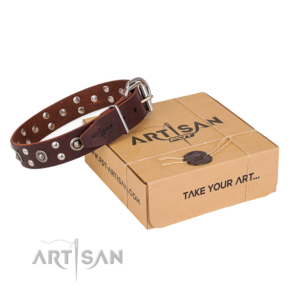 Rust-proof buckle on genuine leather collar for your stylish dog