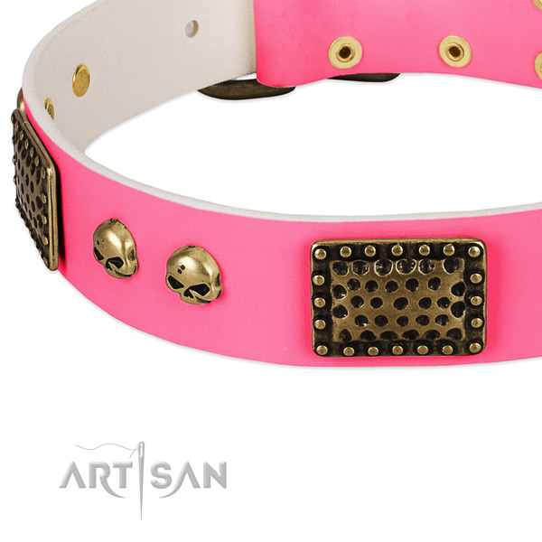 Rust resistant traditional buckle on natural leather dog collar for your pet