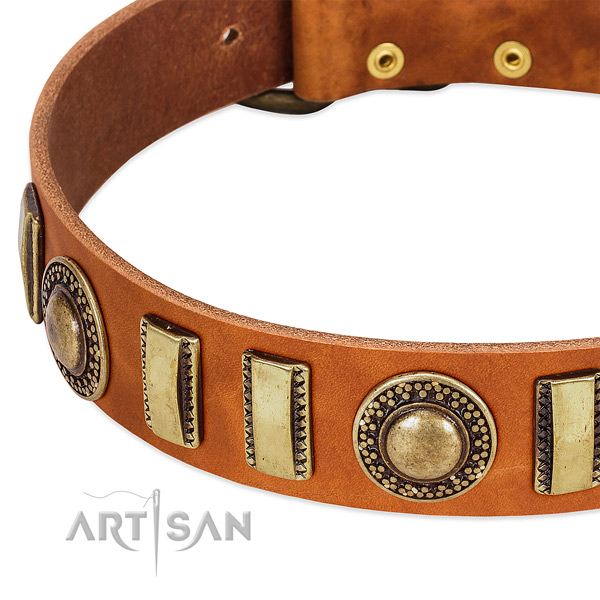 Strong full grain leather dog collar with corrosion proof hardware