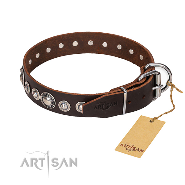 Genuine leather dog collar made of quality material with durable traditional buckle