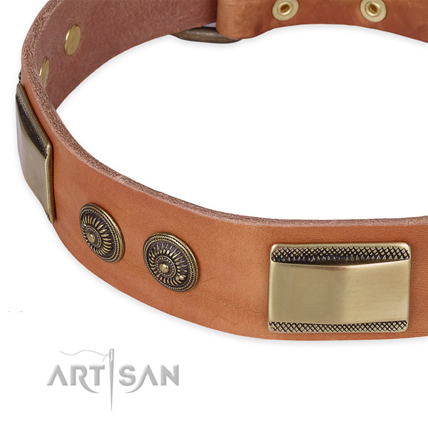 Rust resistant adornments on natural genuine leather dog collar for your dog
