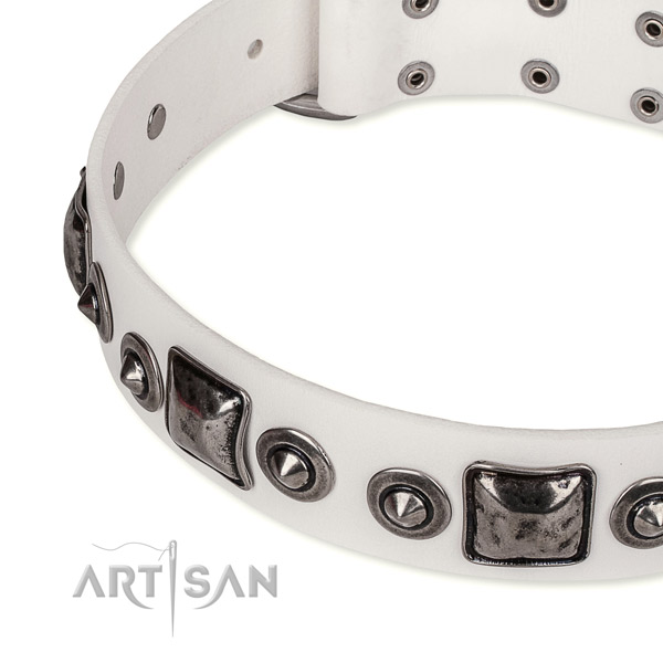 Soft to touch full grain leather dog collar handcrafted for your stylish four-legged friend