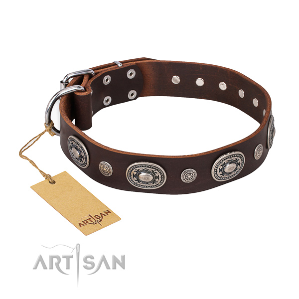 Quality genuine leather collar crafted for your four-legged friend