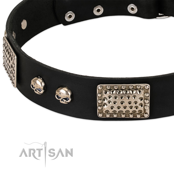 Durable hardware on full grain leather dog collar for your canine