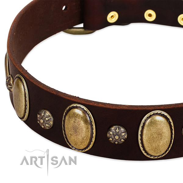 Daily use soft to touch natural genuine leather dog collar