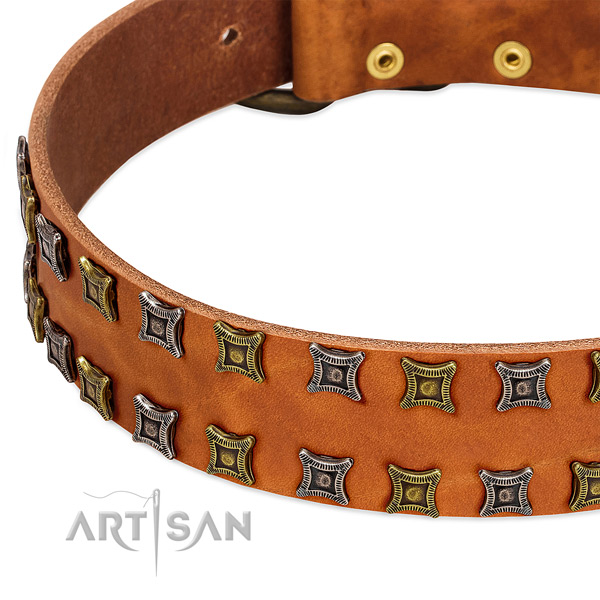 Flexible full grain genuine leather dog collar for your lovely canine