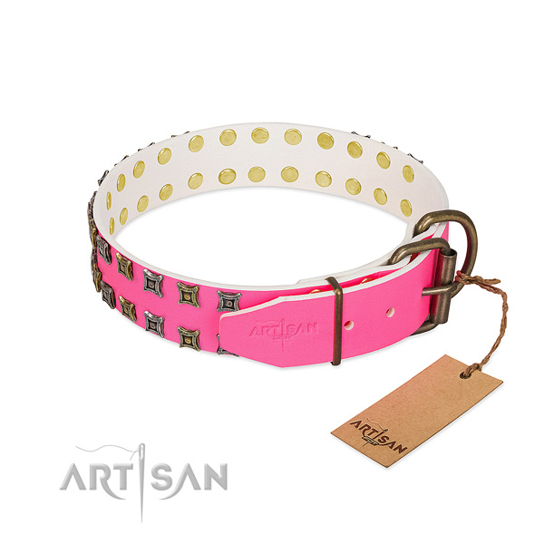 Full grain natural leather collar with inimitable adornments for your pet
