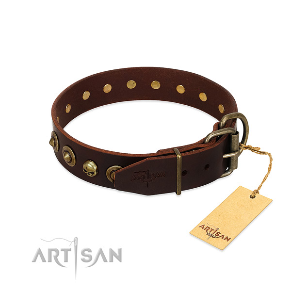 Full grain leather collar with exquisite studs for your pet