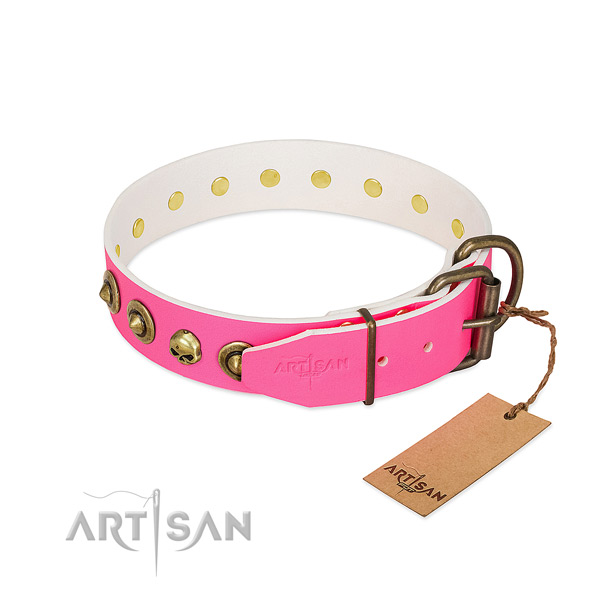 Full grain genuine leather collar with designer adornments for your four-legged friend