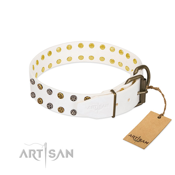 Full grain genuine leather collar with stunning decorations for your four-legged friend